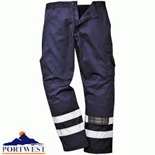 Navy Iona Safety Combat Trousers With Elasticated Waist (S917/H832)