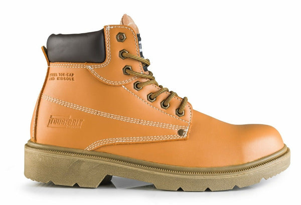 """ToughGrit"" Scoria Tan Leather Safety Steel Toecap & Midsole Boots S1P"