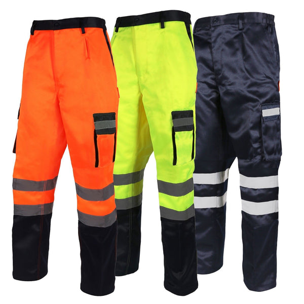 Hi-Viz  Poly Cotton Two Tone Combat Trousers  (196 Orange/223 Navy/213 Yellow)