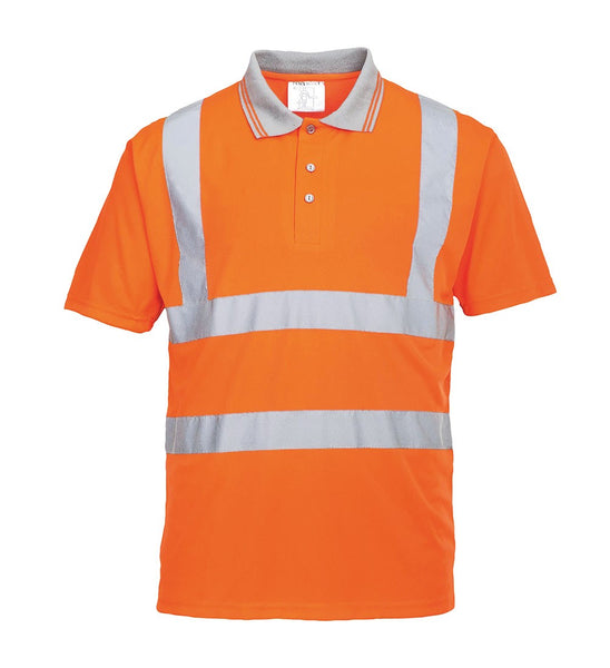 Hi-Vis Orange Hivis Short Sleeved Polo T Shirt RIS - RT22