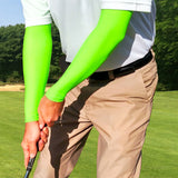neon green arm cooling sleeves for golf