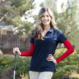 womens red sun sleeves for golfing