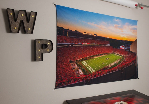 UGA Georgia Bulldogs Art: Sanford Stadium Redout Photo Tapestry Print - 2XL & 3XL Sizes