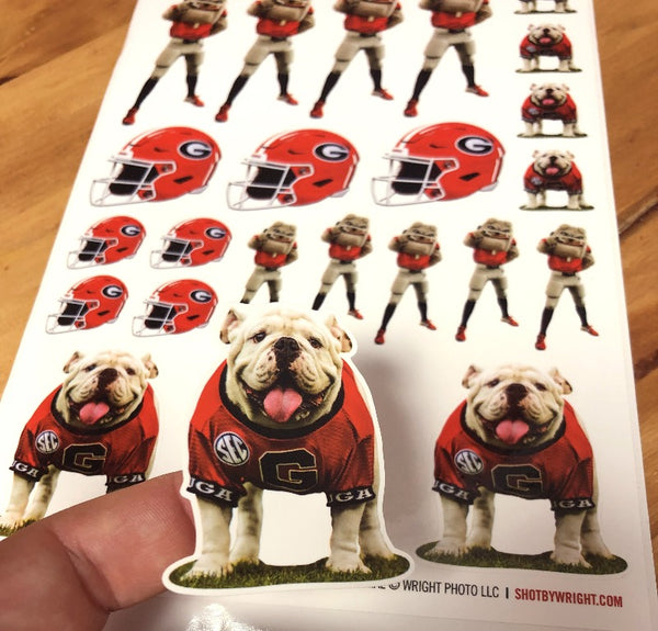 UGA Georgia Bulldogs Sticker Sheet - 23 Small Decals - Die Cut Vinyl Premium Photos - UGA X + Hairy Dawg + Football Helmet