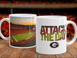 "UGA Georgia Bulldogs Mug: Sanford Stadium ""Attack the Day"" Motivational Mug - Photo Coffee Mug - Gift & Home Decor"