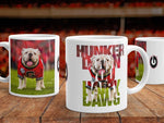 "UGA Georgia Bulldogs Mug: Uga X Football Mascot ""Hunker Down"" Motivational Mug - Photo Coffee Mug - Gift & Home Decor"