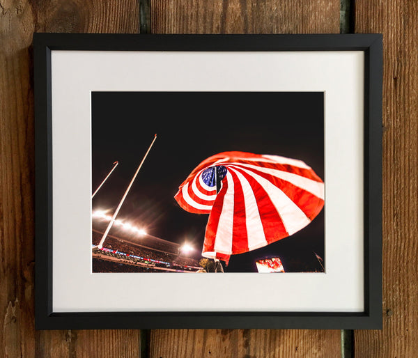 UGA: Stars & Stripes over Sanford Stadium Photo Print / Canvas Wrap - Georgia Bulldogs Art