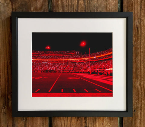 UGA Georgia Bulldogs Art: Red Zone Light Show Dawgs vs Notre Dame Photo Print / Canvas Wrap