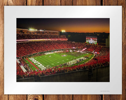UGA Georgia Bulldogs Art: Georgia vs Notre Dame Big Night in Sanford Stadium Art Poster Print