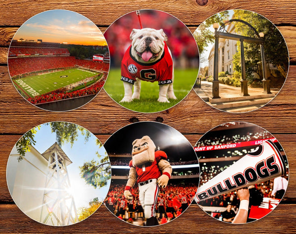 "UGA Georgia Bulldogs Sticker Variety Pack - 2.75"" Premium Circle Vinyl Photo Decals - Party Gifts for Graduation, Kids, Students & Alumni"