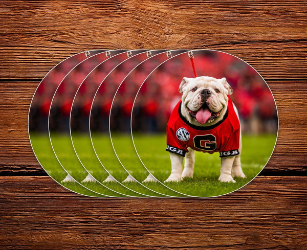 "UGA Georgia Bulldogs Sticker 6-Pack - Uga X Mascot - 2.75"" Circle Vinyl Photo Decals - Party Gifts for Graduation, Kids, Students & Alumni"