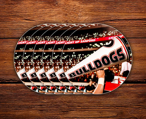 "UGA Georgia Bulldogs Sticker 6-Pack - Light Up Sanford - 2.75"" Circle Vinyl Photo Decal - Gift Wrap"