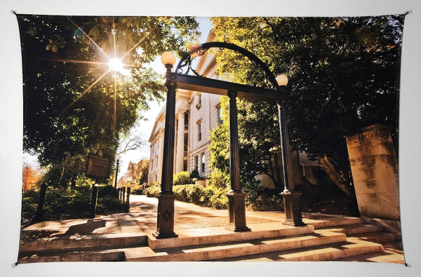 UGA Georgia Bulldogs Art: Campus Arch Photo Tapestry Print - 2XL & 3XL Sizes
