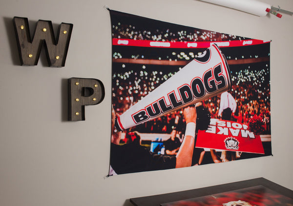 UGA Georgia Bulldogs Art: 2017 Light Up Sanford Stadium Photo Tapestry Print - 2XL & 3XL Sizes