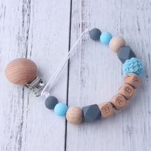 Load image into Gallery viewer, Personalized Name Beech Wood Chew Beads Pacifier Clips