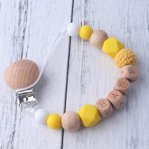 Personalized Name Beech Wood Chew Beads Pacifier Clips