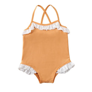 Tot Solid Ruffled Swimsuit