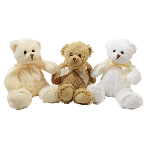 "7"" Sitting Potsy Bear, 3 Asst Brown, White, Cream"