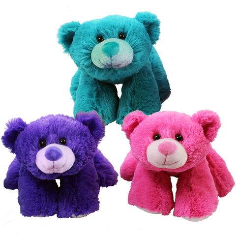"11"" Floppy Bear, 3 Asst. Pink, Purple, Teal"