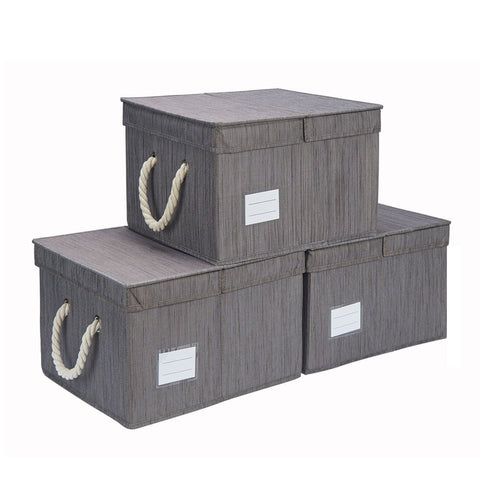 Foldable Fabric Storage Bin w/Cotton Rope Handles & Double-Open Lid, Slate (10.5 Gal)