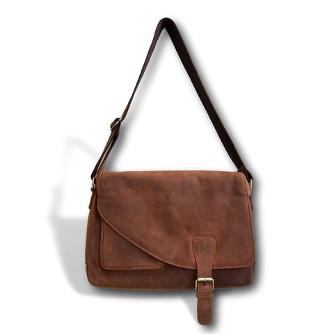 "Genuine Soft Leather Handmade 16"" Messenger Bag by Kauri Design"