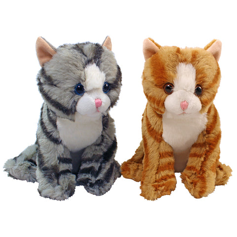 "7"" Sitting Tabby Cats, 2 Asst, Grey, Orange"