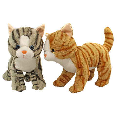 "12"" Standing Tabby Cats, 2 Asst, Grey, Orange"