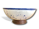 Handmade Blue & White Splatter Ceramic Bowl with Wood Base | Kauri Design