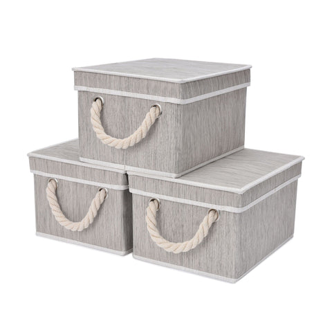 Foldable Fabric Storage Bin w/Cotton Rope Handles & Lid, Clay (5 Gal), 2-Pack