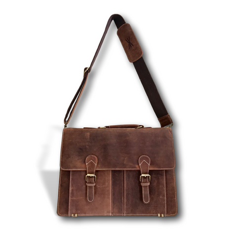 "Handmade Brown Leather 18""  Messenger Bag Briefcase by Kauri Design"