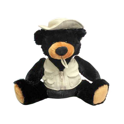 "Wishpets 10"" Fishing Bear with Vest and Hat Stuffed Plush Toy"