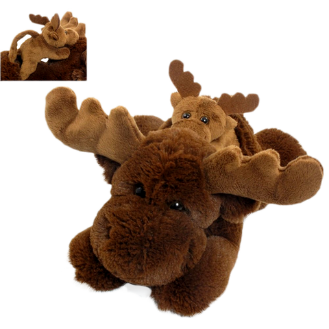"Wishpets 12"" Pint-Sized Pals Chestnut Brown Moose with Baby Plush Toy"