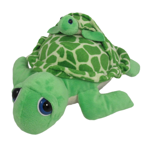 "Wishpets 12"" Pint-Sized Pals Green Sea Turtle with Baby Plush Toy"