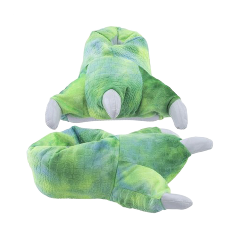 Wishpets Green Fuzzy Dinosaur Plush Slippers