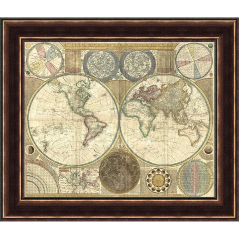 DOUBLE HEMISPHERE MAP OF THE WORLD 1794 26X31 FRAMED FINE ART PRINT