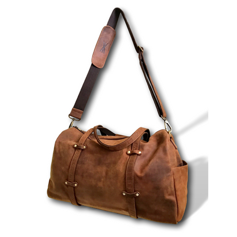 "Oversized Leather 24"" Weekend Travel Duffel Bag by Kauri Design"