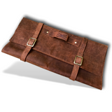 Large Handmade Leather Chef Knife Roll | 11 Pocket Knife Case & Locking Case