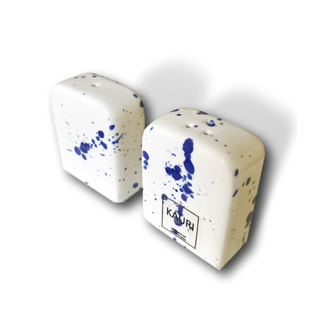 Handmade Modern Blue & White Splatter Ceramic Salt and Pepper Shakers | Kauri Design