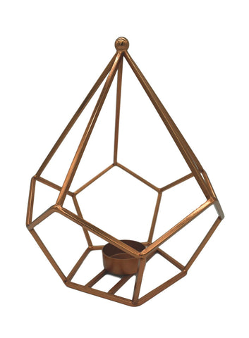 Geometric Copper Tea Light Holder