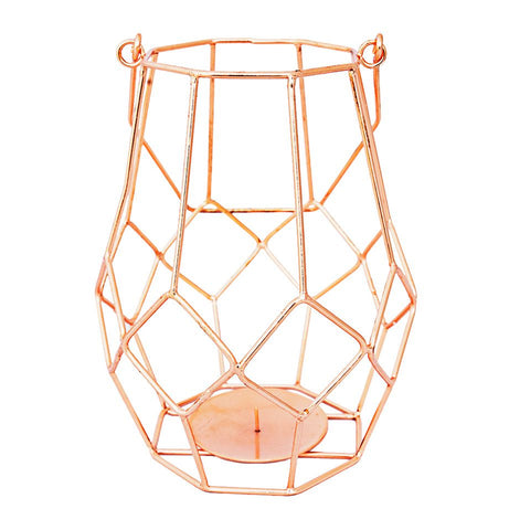 "8"" Copper Wire Votive Candle Holder Lantern"