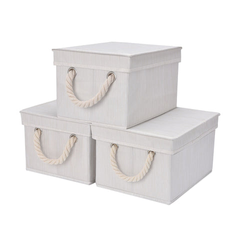Foldable Fabric Storage Bin w/Cotton Rope Handles & Lid, Ivory (3 Gal), 2-Pack
