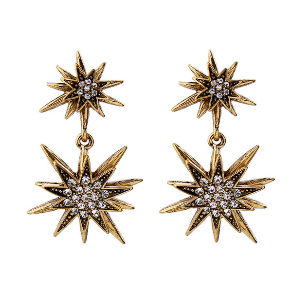 Lilian Crystal Starburst Statement Earrings - La Petite Boheme