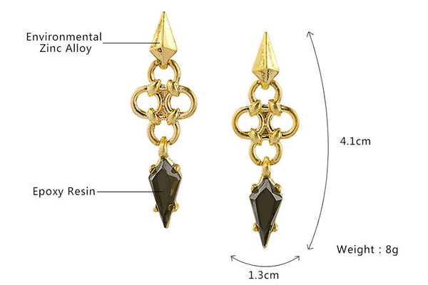 Remi Retro Long Geometric Earrings - La Petite Boheme