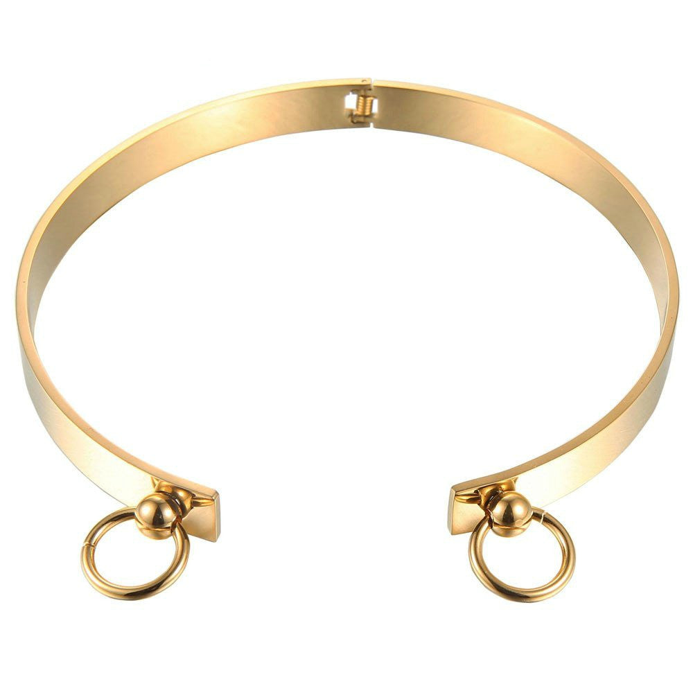 Modern Double Circle Cuff Choker Necklace - Silver, Gold or Rose Gold - La Petite Boheme