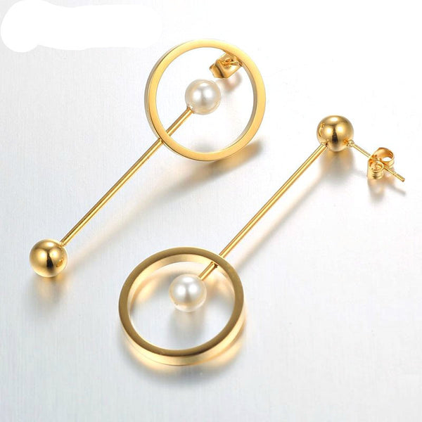Modern Geometric Circle Pearl Earrings - Gold, Rose Gold or Silver