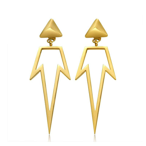 Modern Long Geometric Point Earrings - Gold, Rose Gold or Silver - La Petite Boheme