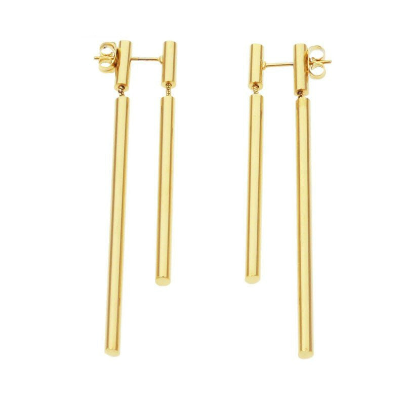 Modern Double Bar Front/Back Earrings - Gold, Rose Gold or Silver - La Petite Boheme