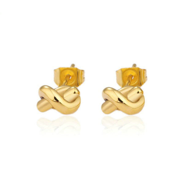 Modern Mini Knot Stud Earrings - Gold or Silver - La Petite Boheme