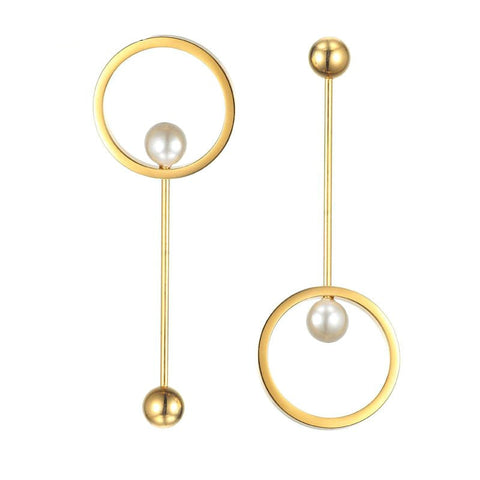 Modern Geometric Circle Pearl Earrings - Gold, Rose Gold or Silver - La Petite Boheme