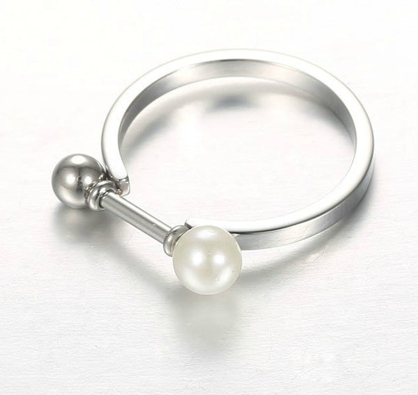 Modern Ball and Pearl Bar Ring - Gold , Rose Gold or Silver - La Petite Boheme